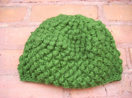 Crocheted Olive Bobble Stitch Cap