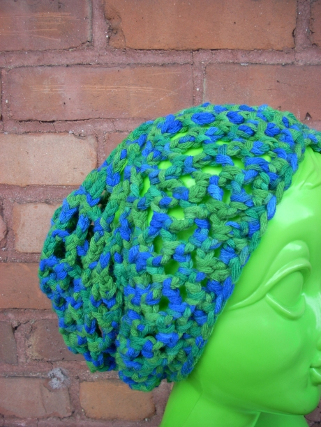 Crocheted Blue Green Net Tam