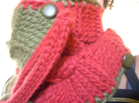 Crocheted Olive/Red Wool Basketweave Cowl/Scarf