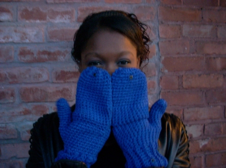 Crocheted Electric Blue Fingerless Mittens