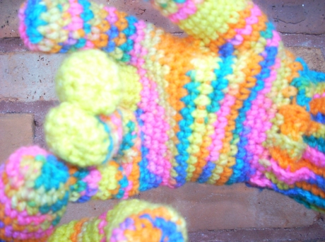 Crocheted Candy Rainbow Yellow Saturn Finger Gloves