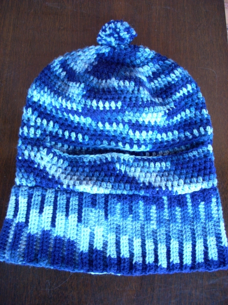 Crocheted Balaclava In Blue Camouflage