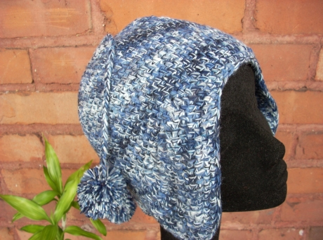Crocheted Blue Camouflage Aviator