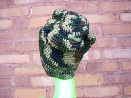 Crocheted Camouflage Crown With Brim