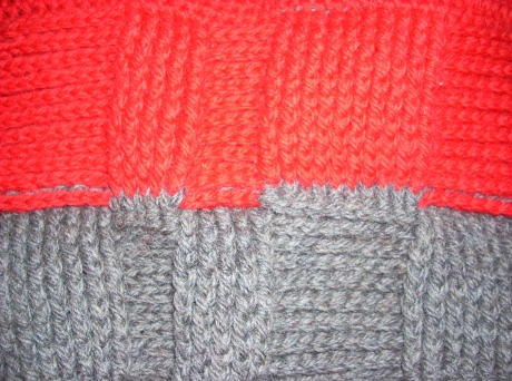 Crocheted Red/Gray Balaclava
