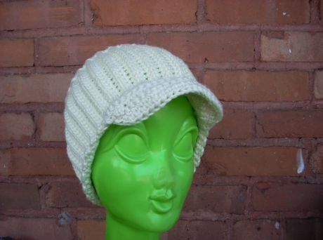 Crocheted Ivory M*A*S*H Cap