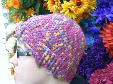 Crocheted Mixed Fuchsia Basket Weave Hat