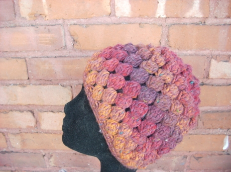 Crocheted Sunset Bobble Stitch Cap
