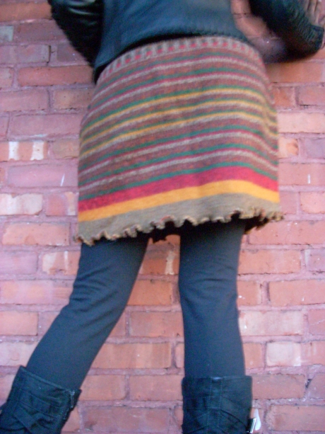 Knitted& Sewed Upcycled Red/Gold/Green Miniskirt
