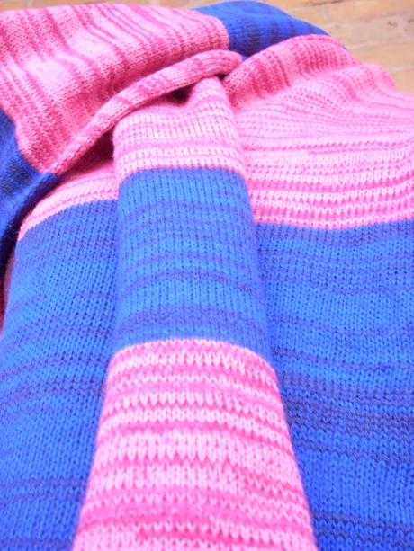 Knitted Violet and Pink Striped Scarf