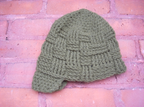 Crocheted Basketweave Hat with Brim