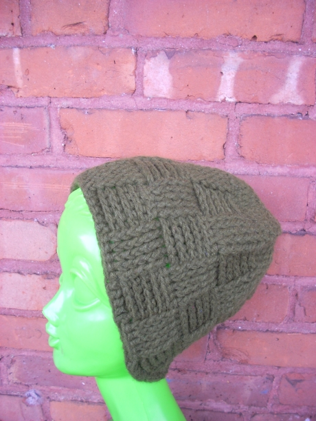 Crocheted Army Green Basket Weave Hat