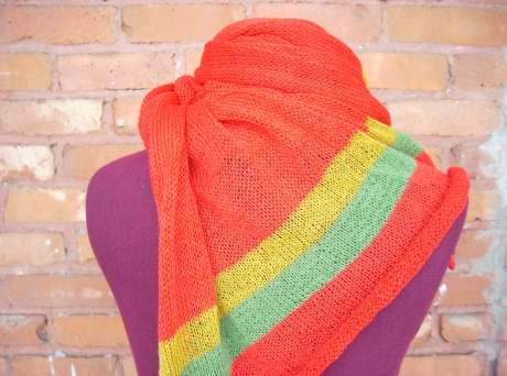 Knitted Red Scarf /Wrap with Gold and Green Stripes