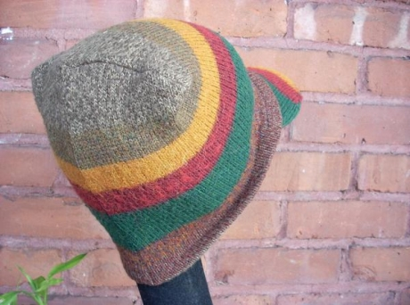 Knitted Sewed Upcycled Red/Gold/Green Hat
