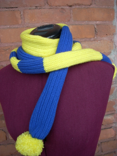 Knitted Electric Blue & Bright Yellow Puff Bolo Scarf