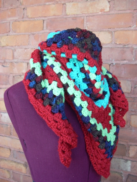 Your Granny is a Hipster Scarf, in Brick/Calypso/Seafoam