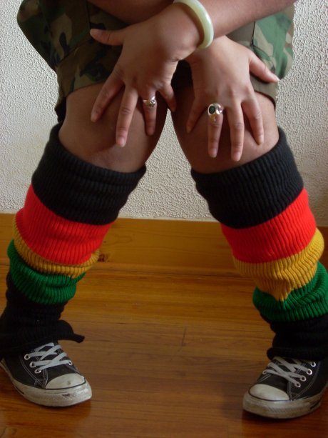 Knit Black Legwarmers with Red Gold Green