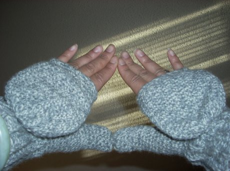 Crocheted Concrete Snow Fingerless Mittens
