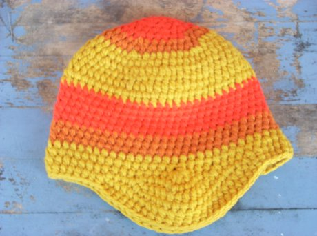 Crocheted Split Complimentary Hat in Gold