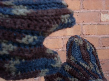Crocheted Chocolate Navy Mitts