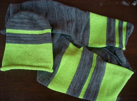 Knitted Neon Celery Baby Set