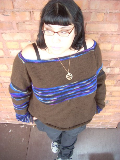 Knitted Chocolate Boatneck Sweater