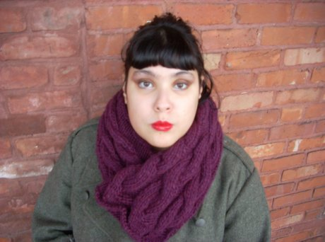 Knitted Sarvisberry Wine Cabled Cowl