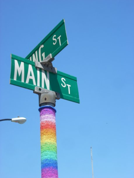 Gay Pride Yarn Bomb