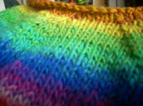 raglan shaping in rainbow yarn goodness