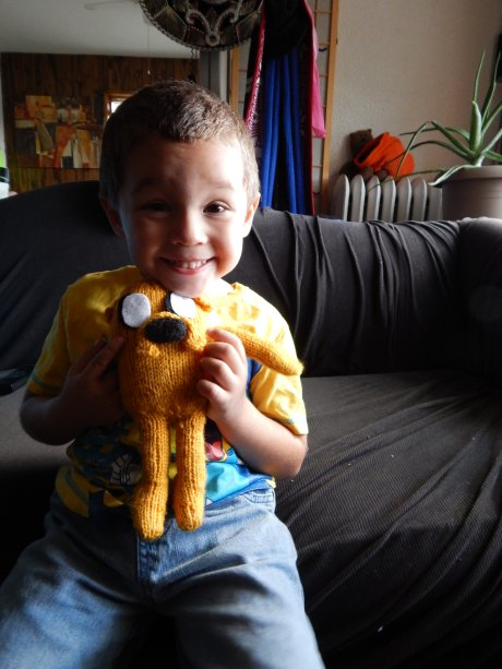 Knit Jake the Dog and a cute ass kid