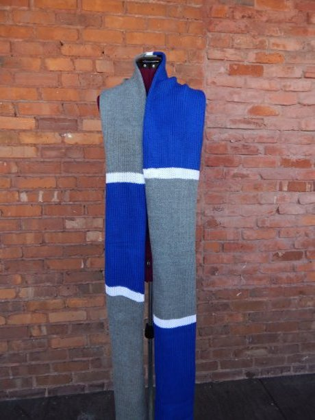 knit scarf blue grey white
