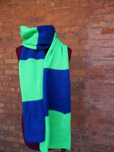 Electric Blue and Glowworm Green Scarf
