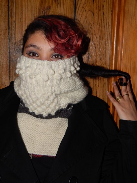 Ivory Cowl with Bobbles and a Honeycomb Cable